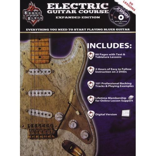 HAL LEONARD ROCK HOUSE HOUSE OF BLUES ELECTRIC GUITAR COURSE BK/2DVD - GUITAR TAB