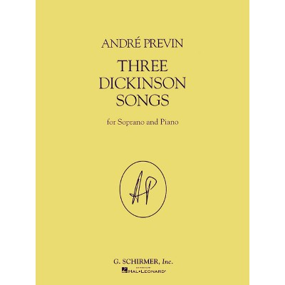 SCHIRMER PREVIN ANDRE - THREE DICKINSON SONGS - VOIX & PIANO