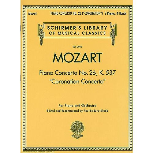 SCHIRMER W.A MOZART PIANO CONCERTO NO.26 IN D 'CORONATION' K.537 - TWO PIANOS