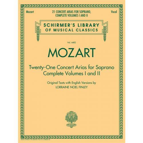 HAL LEONARD MOZART WA - 21 CONCERT ARIAS FOR SOPRANO VOLUMES 1 AND 2 SCHIRMER LIB - SOPRANO