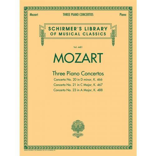 HAL LEONARD MOZART W A - THREE PIANO CONCERTOS K466, K467 AND K488 - TWO PIANOS
