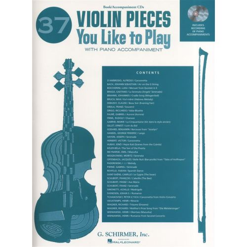 HAL LEONARD 37 VIOLIN PIECES YOU LIKE TO PLAY + CD - VIOLIN