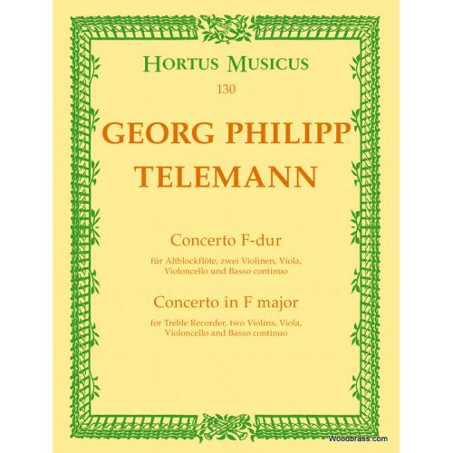 BARENREITER TELEMANN G.P. - CONCERTO FOR TREBLE RECORDER, STRINGS AND BASSO CONTINUO F MAJOR - RECORDER, STRINGS