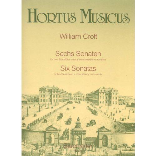 HORTUS MUSICUS CROFT W. - SECHS SONATEN FUR ZWEI ALTBLOCKFLOTEN ODER ANDERE INSTRUMENTE