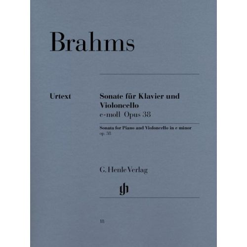 HENLE VERLAG BRAHMS J. - SONATA FOR PIANO AND VIOLONCELLO E MINOR OP. 38