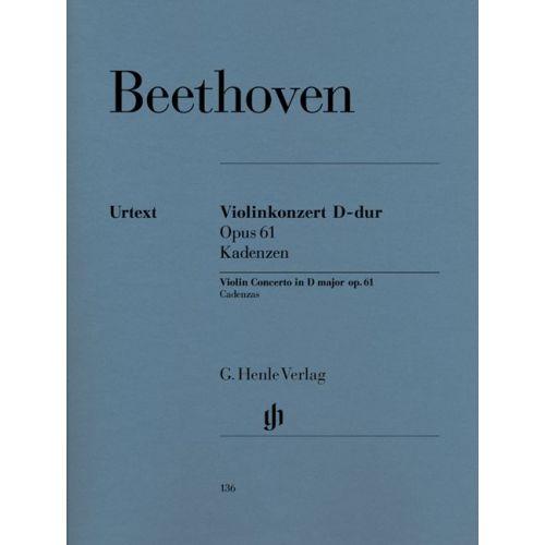 HENLE VERLAG BEETHOVEN L.V. - CADENZAS TO VIOLIN CONCERTO OP. 61