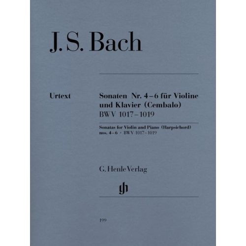 HENLE VERLAG BACH J.S. - SONATAS FOR VIOLIN AND PIANO (HARPSICHORD) 4-6 BWV 1017-1019 WITH APPENDIX