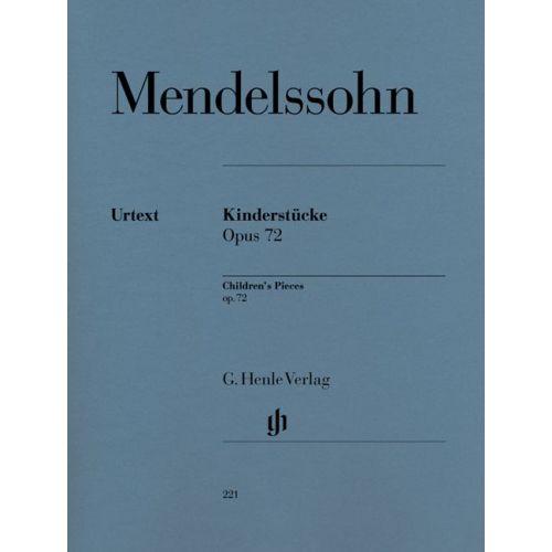HENLE VERLAG MENDELSSOHN BARTHOLDY F. - SECHS KINDERSTÜCKE OP.72 - PIANO