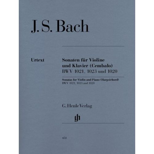 HENLE VERLAG BACH J.S. - THREE SONATAS FOR VIOLIN AND PIANO (HARPSICHORD) BWV 1020, 1021,1023