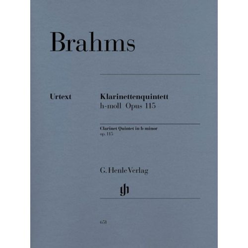 HENLE VERLAG BRAHMS J. - CLARINET QUINTET IN B MINOR OP. 115 FOR CLARINET, 2 VIOLINS, VIOLA AND VIOLONCELLO
