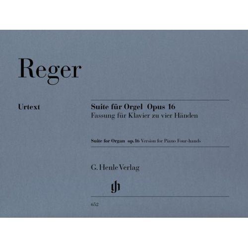HENLE VERLAG REGER M. - SUITE E MINOR FOR ORGAN OP. 16 - COMPOSER´S TRANSCRIPTION FOR PIANO FOUR-HANDS