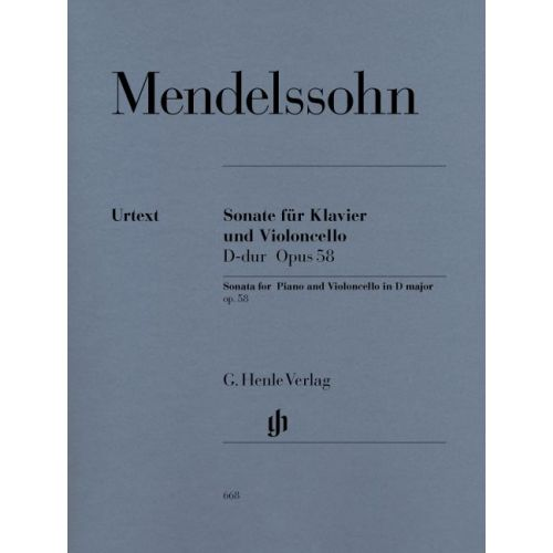 HENLE VERLAG MENDELSSOHN B F. - SONATA FOR PIANO AND VIOLONCELLO D MAJOR OP. 58