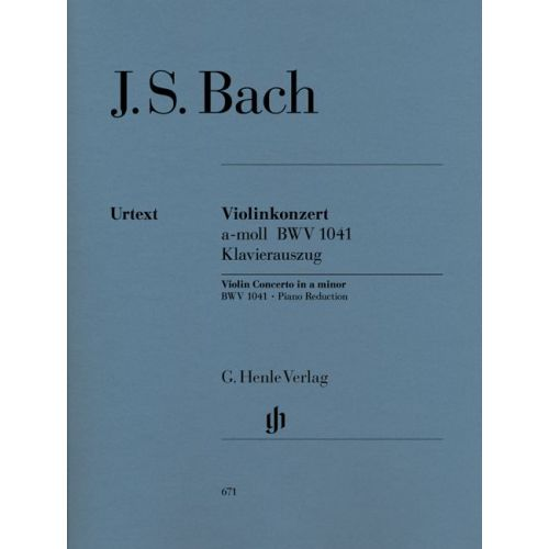 HENLE VERLAG BACH J.S. - CONCERTO FOR VIOLIN AND ORCHESTRA A MINOR BWV 1041