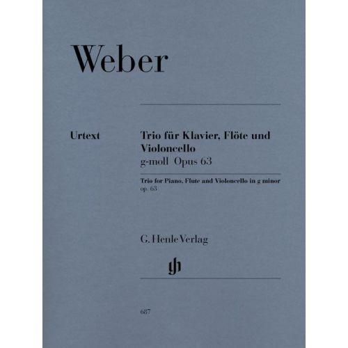 HENLE VERLAG WEBER C.M.V. - TRIO G MINOR OP. 63 FOR PIANO, FLUTE AND VIOLONCELLO