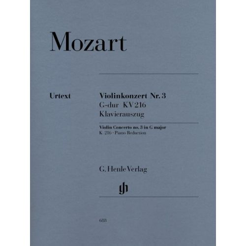 HENLE VERLAG MOZART W.A. - VIOLIN CONCERTO NO. 3 G MAJOR K. 216