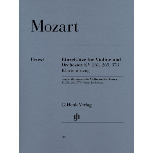 HENLE VERLAG MOZART W.A. - SINGLE MOVEMENTS FOR VIOLIN AND ORCHESTRA K. 261, 269 AND 373