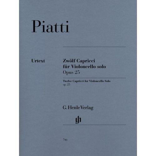 HENLE VERLAG PIATTI A. - 12 CAPRICCI OP. 25 FOR VIOLONCELLO SOLO