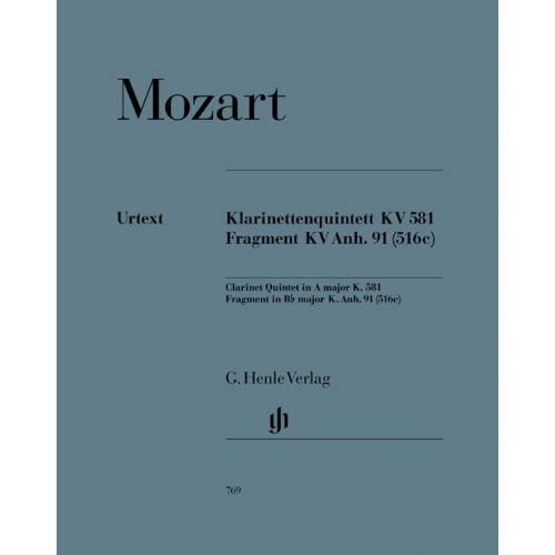 HENLE VERLAG MOZART W.A. - CLARINET QUINTET A MAJOR K. 581 AND FRAGMENT K. ANH. 91 (516C)