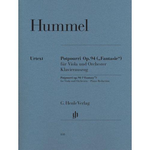HENLE VERLAG HUMMEL J.N. - POTPOURRI (FANTASIE) OP. 94 FOR VIOLA AND ORCHESTRA