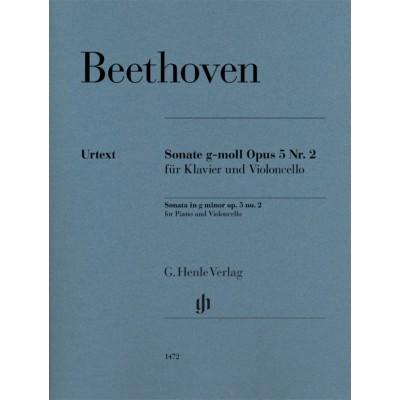 HENLE VERLAG BEETHOVEN L.V. - SONATA IN G MINOR OP.5 N°2 - VIOLONCELLE & PIANO