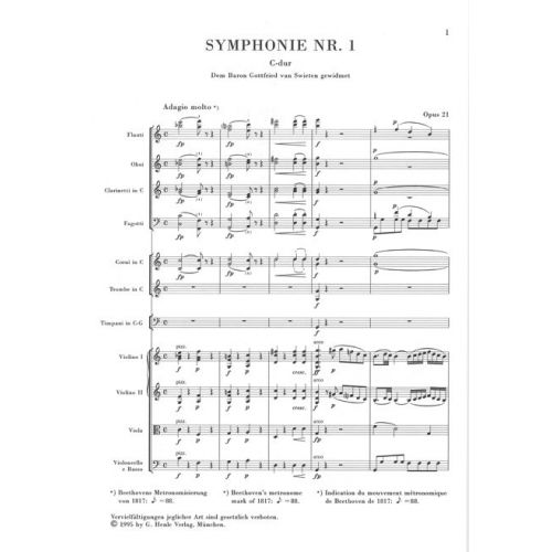 - Study S Henle Urtext Edition Ludwig Van Beethoven: Symphony No.1 In C Op 21