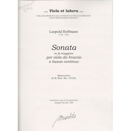 MUSEDITA HOFFMANN - SONATA IN FA MAGGIORE - VIOLA DA BRACCIO E BC