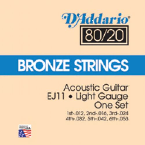 D'ADDARIO AND CO ACOUSTIC FOLK S EJ 11 BRONZE 80/20 LIGHT 12 53