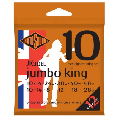 ROTOSOUND JUMBO KING PHOSPHOR BRONZE 12 STRINGS 10/10 14/14 8/24 12/30 18/40 28/48