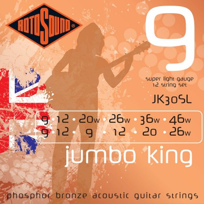 ROTOSOUND JUMBO KING PHOSPHOR BRONZE 12 STRINGS 9/9 12/12 9/20 12/26 20/36 26/46