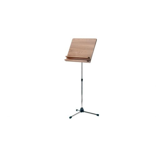 KM 11831-000-01 ORCHESTRA MUSIC STAND NICKEL STAND WITH WALNUT WOODEN DESK