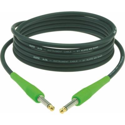 KLOTZ KIK INSTRUMENT CABLE BLACK 6M JACK 2P - JACK 2P, CAP. GREEN GOLD CONTACT