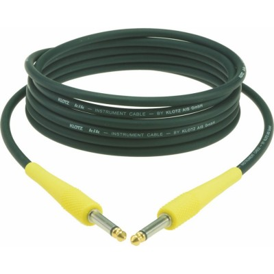KLOTZ KIK INSTRUMENT CABLE NOIR 1,5M JACK 2P - JACK 2P, CAP. JAUNE CONTACTS EN OR