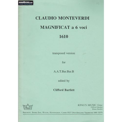 KING'S MUSIC VOCAL SHEETS - MONTEVERDI MAGNIFICAT A 6 VOCI, 1610 (TRANSPOSED DOWN A FOURTH)