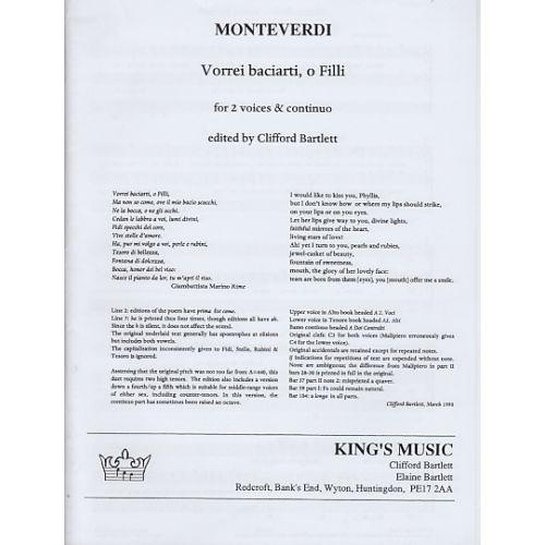 KING'S MUSIC MONTEVERDI VORREI BACIARTI, O FILLI, FOR 2 VOICES (CONTRALTI) AND CONTINUO