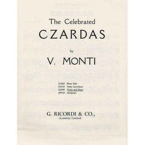 RICORDI MONTI V. - CZARDAS - VIOLON ET PIANO