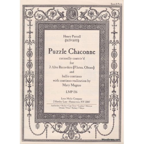 LOUX MUSIC COMPANY PURCELL H. - PUZZLE CHACONNE, CURIOUSLY CONTRIV'D - 3 FLUTE A BEC ALTO