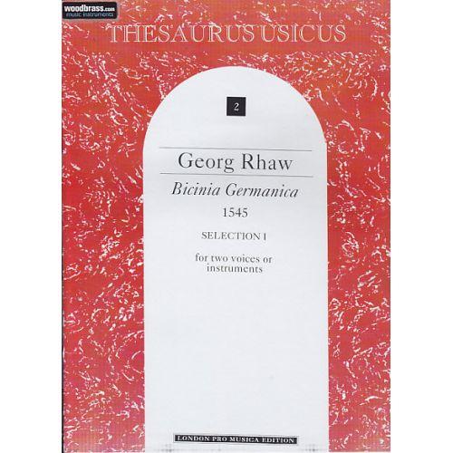 LONDON PRO MUSICA RHAW G. - BICINIA GERMANICA (1545) - 2 INSTRUMENTS (2 VOIX)