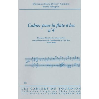 CAHIERS DU TOURDION CAHIER POUR LA FLÛTE A BEC N°4 (EXTRAIT MANUSCRIT DE PARME. MILIEU XVIIIème SIECLE)