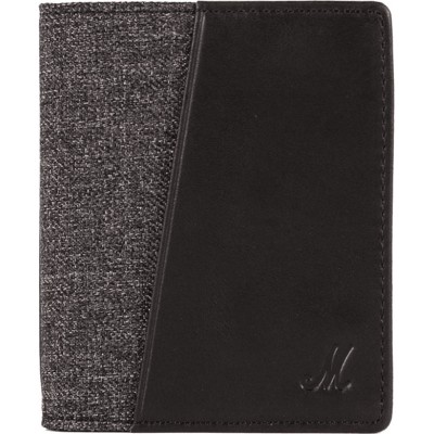 MARSHALL WALLET DOUBLE JEAN GREY LEATHER BLACK