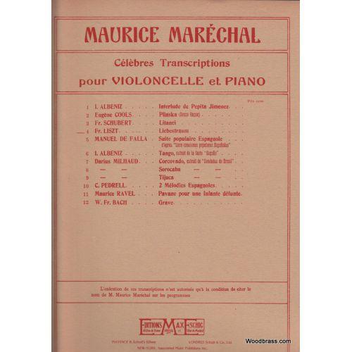 EDITION MAX ESCHIG LISZT F. - REVE D'AMOUR - VIOLONCELLE ET PIANO