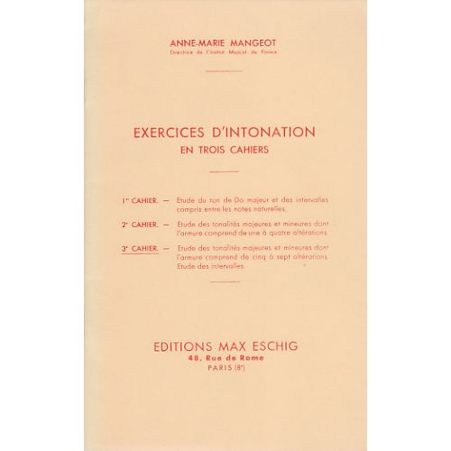 EDITION MAX ESCHIG MANGEOT ANNE-MARIE - EXERCICES D'INTONATION VOL.3