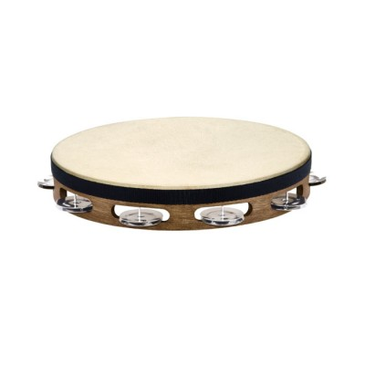 MEINL TRADITIONAL GOATSKIN WOOD TAMBURINES, STAINLESS STEEL JINGLES