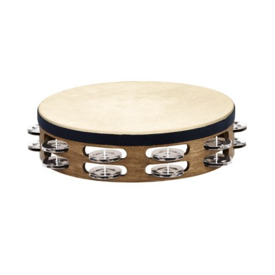 MEINL TRADITIONAL GOATSKIN WOOD TAMBURINE, STAINLESS STEEL JINGLES 2 ROWS
