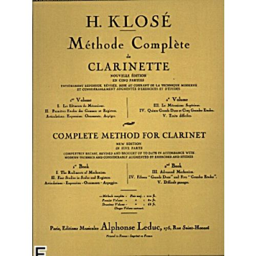 LEDUC KLOSE H. - METHODE COMPLETE DE CLARINETTE VOL.2