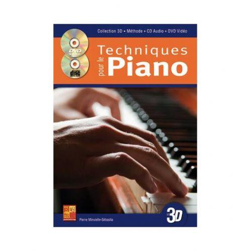 PLAY MUSIC PUBLISHING MINVIELLE-SEBASTIA - TECHNIQUES POUR LE PIANO EN 3D CD + DVD