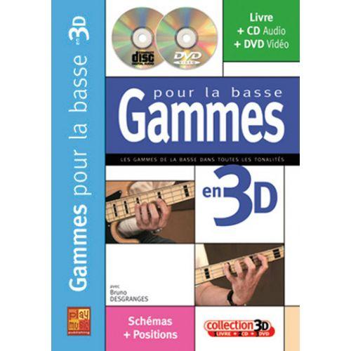 PLAY MUSIC PUBLISHING DESGRANGES BRUNO - GAMMES POUR LA BASSE EN 3D CD + DVD
