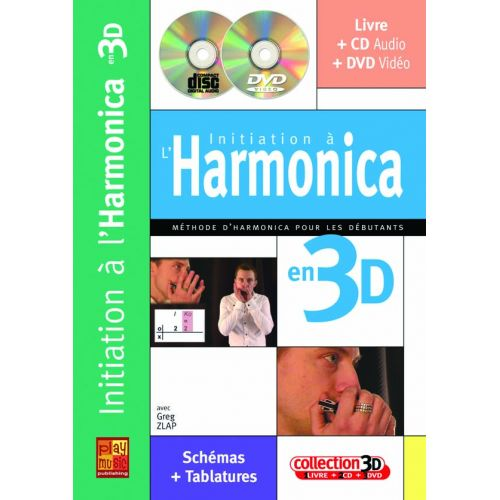PLAY MUSIC PUBLISHING ZLAP GREG - INITIATION A L'HARMONICA EN 3D CD + DVD