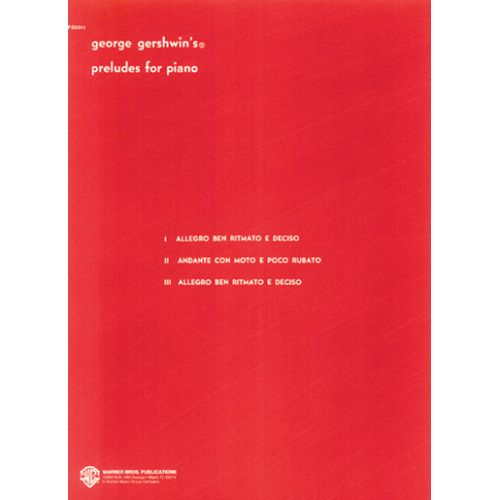 ALFRED PUBLISHING GERSHWIN GEORGES - PRELUDES (I-III) - PIANO