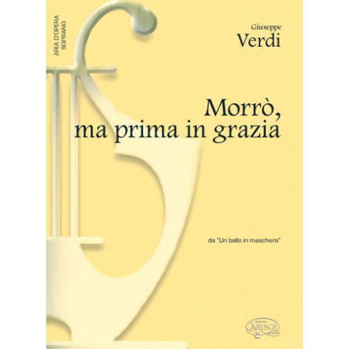 CARISCH VERDI G. - MORRO'MA PRIMA IN GRAZIE - PIANO, VOIX SOPRANO