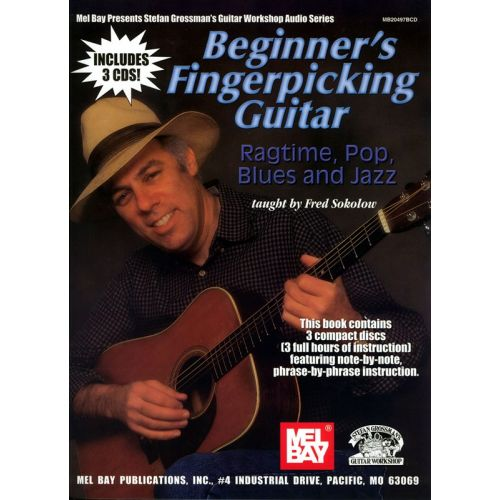 MEL BAY SOKOLOW FRED - BEGINNER'S FINGERPICKING GUITAR - RAGTIME, POP, BLUES AND JAZZ - GUITAR